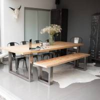 reclaimed pine and steel dining table, bench and chairs by ...