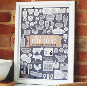 kitchen prints cabinet doors cheap and art notonthehighstreet com personalised print how to cook everything food drink