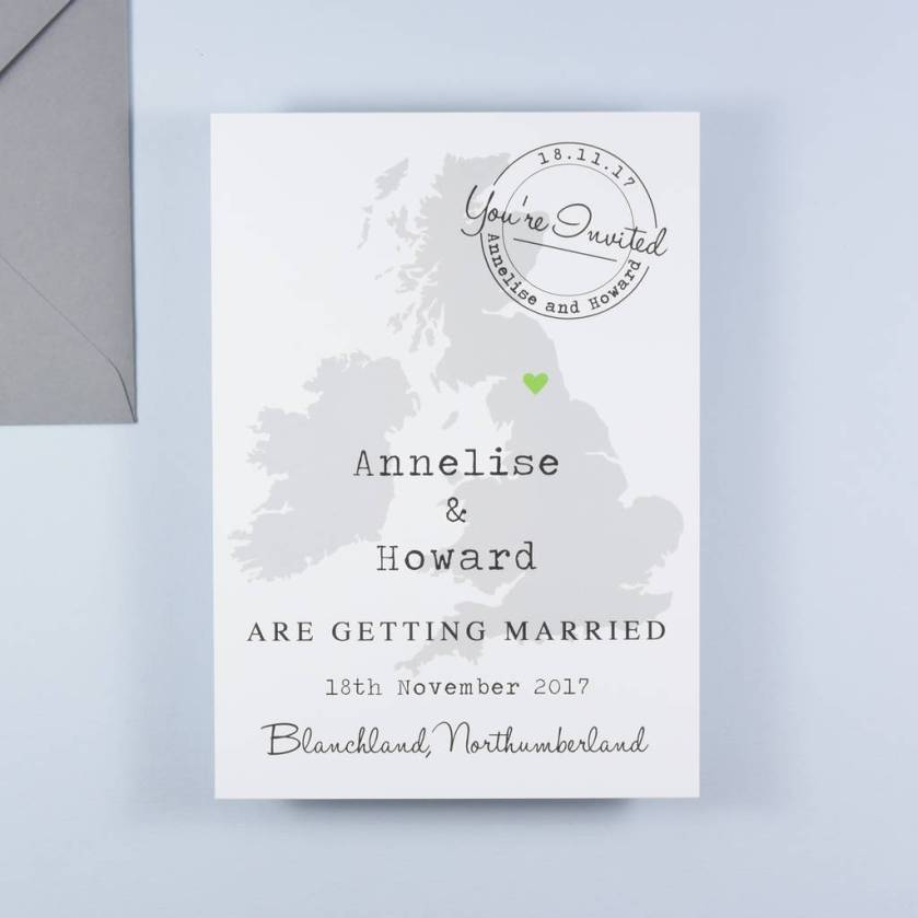 Annelise Map Postcard Wedding Invitation