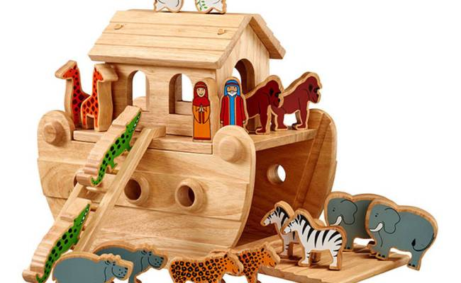 Wooden Noah S Ark With Painted Animals By Knot Toys