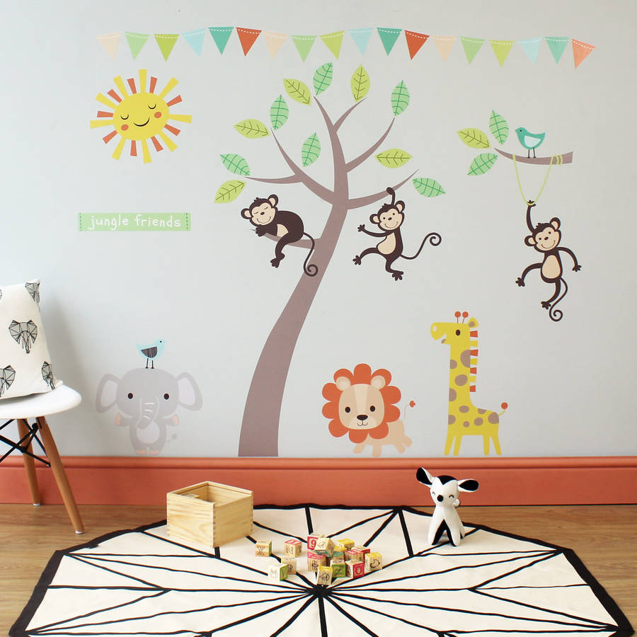 pastel jungle animal wall stickers by parkins interiors  notonthehighstreetcom