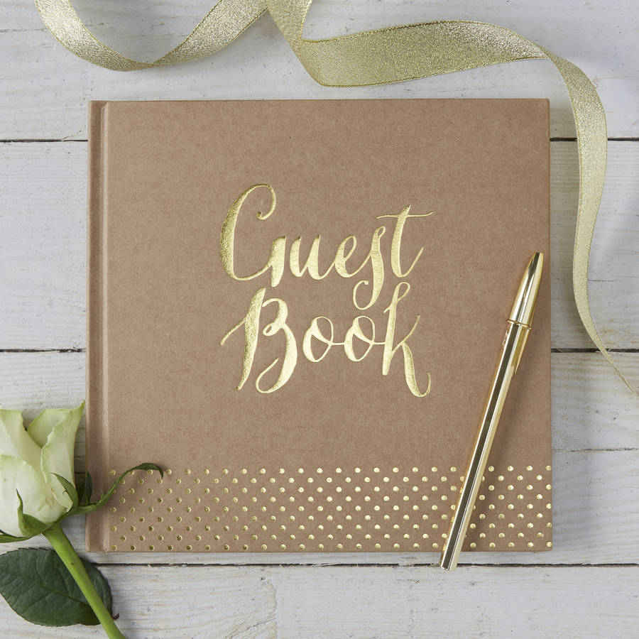 brown kraft and gold foiled wedding guest book by ginger