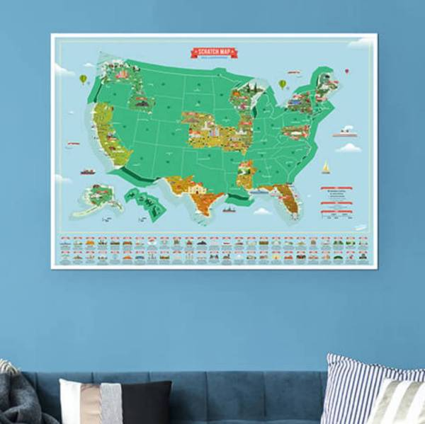 scratch map usa landmarks poster by luckies