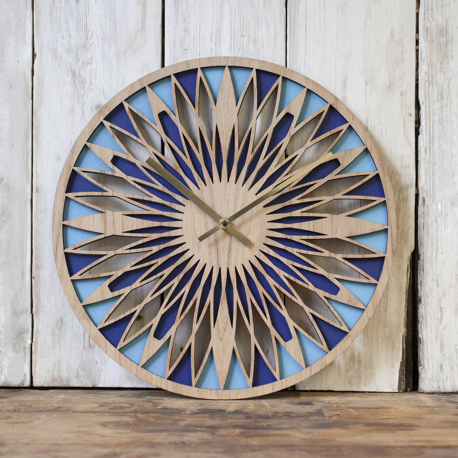 contemporary oak faced laser cut layered clock by denvers