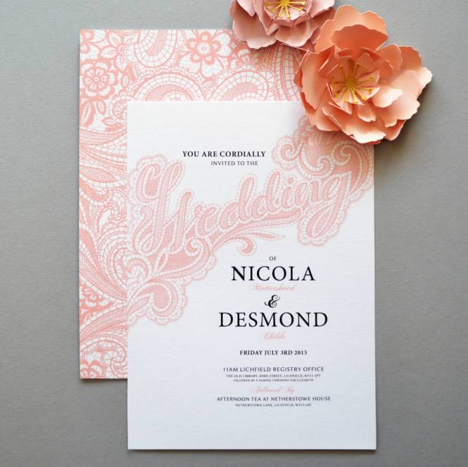 Elegant Turquoise And Silver Grey Lace Wedding Invitation