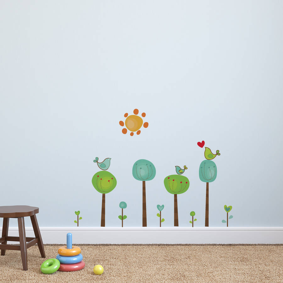 childrens bird tree wall stickers by parkins interiors