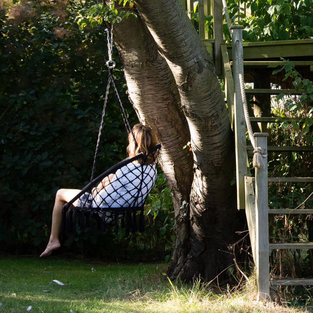 hanging chair notonthehighstreet revolving manufacturer in delhi grey macrame by ella james