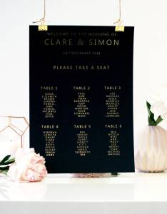 Black and gold seating plan for weddings table plans can be framed also wedding by made with love rh notonthehighstreet