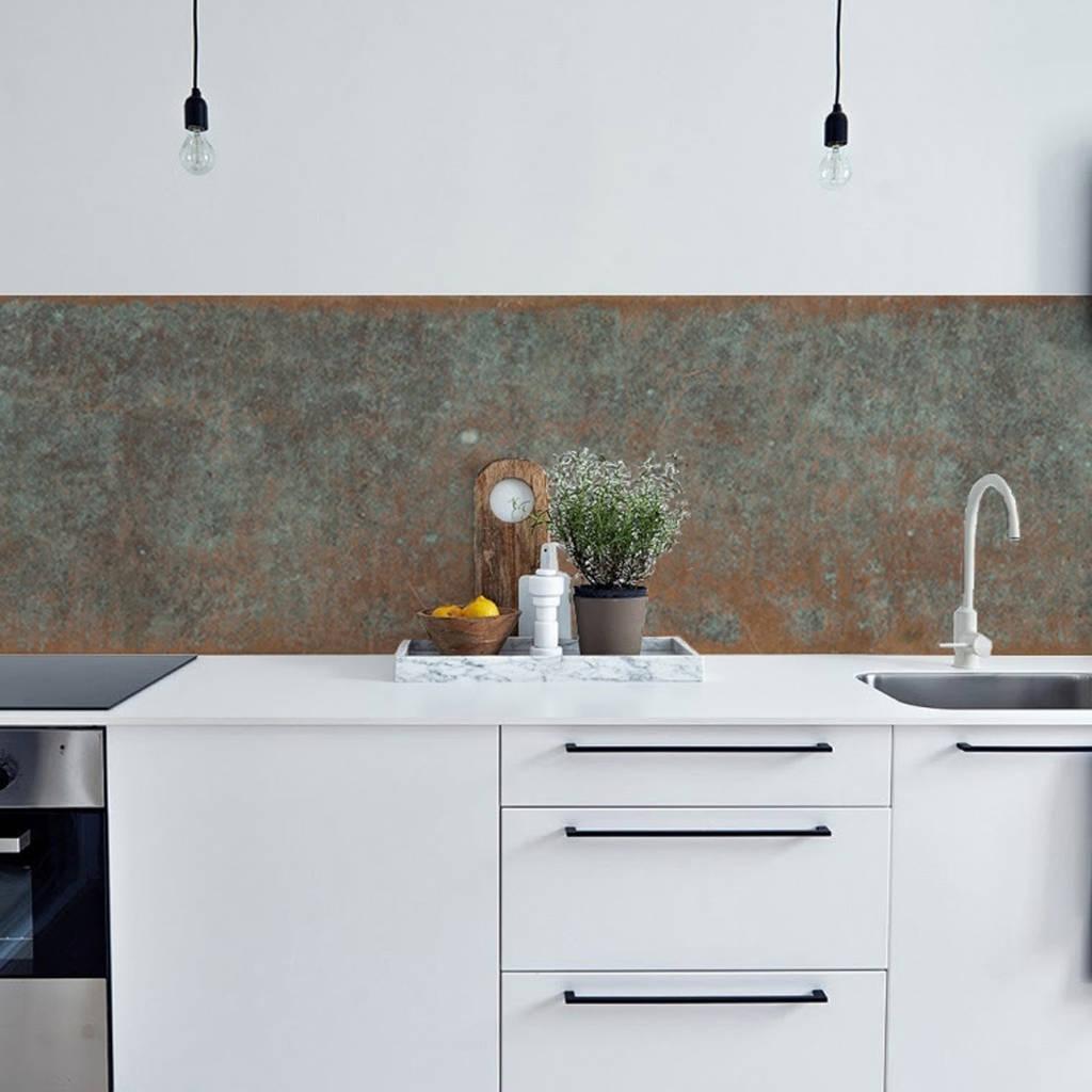 wallpaper for kitchen walls used kitchens sale bronze copper backsplash by lime