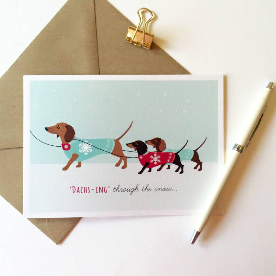 Dachshund Pack Of Eight Christmas Cards By Sirocco Design