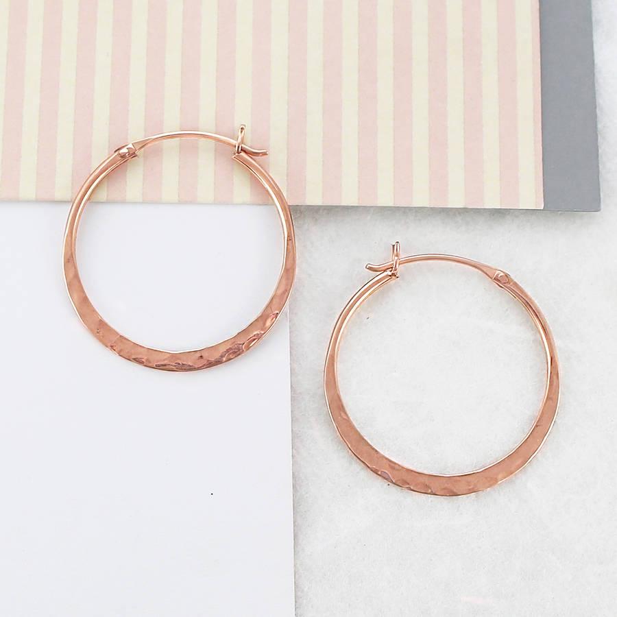 battered small rose gold hoop earrings by otis jaxon