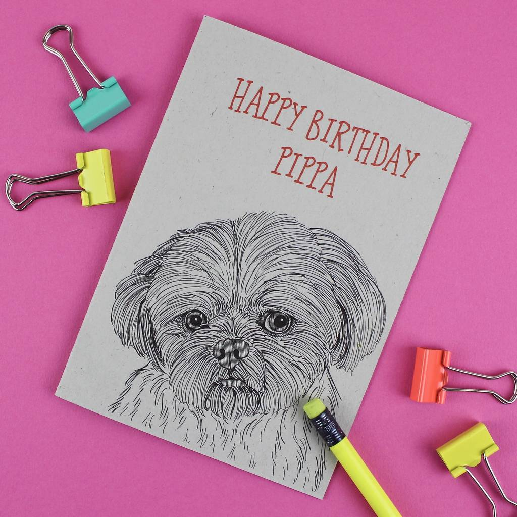 Shih Tzu Dog Birthday Card By Adam Regester Design
