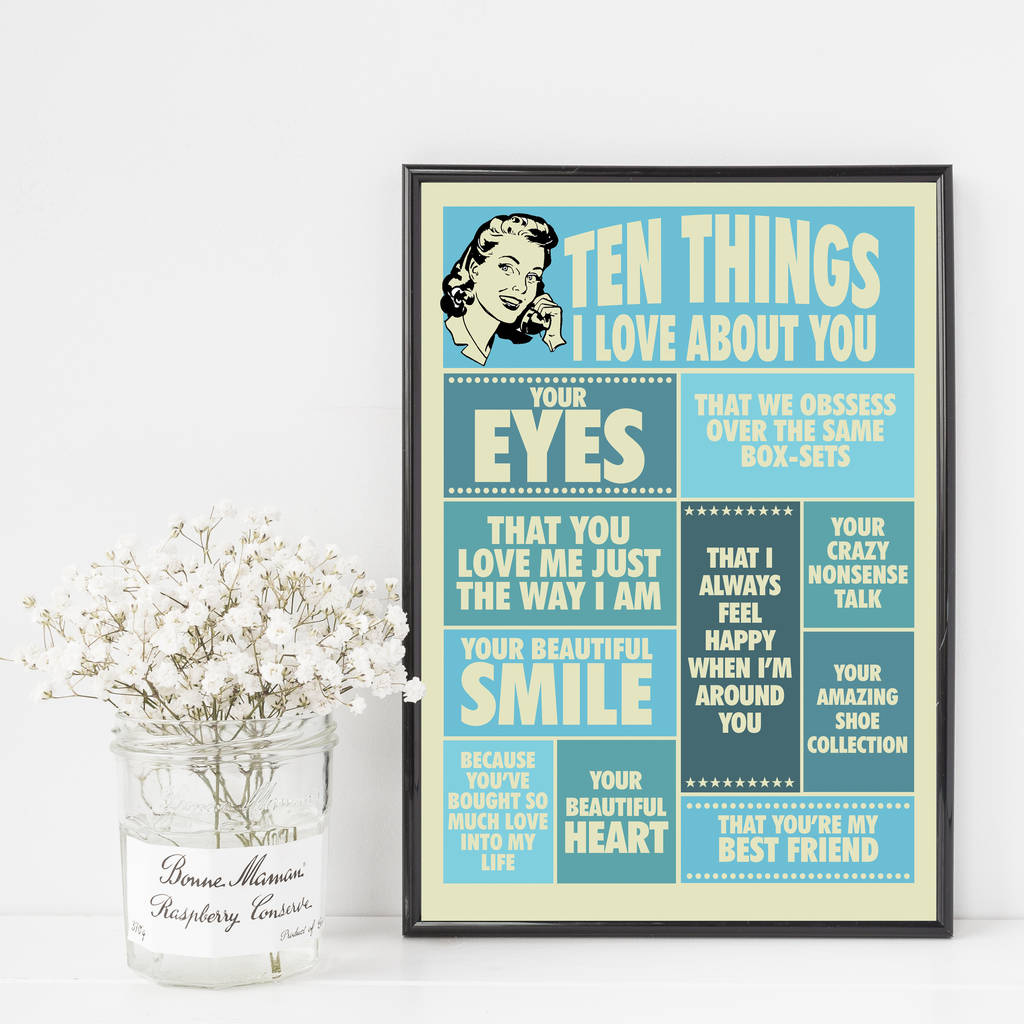 Ten Things I Love About You Personalised Print For Her By