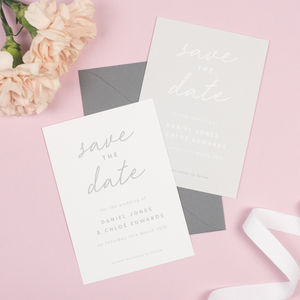 Grey And White Minimalist Rachel Save The Date Cards