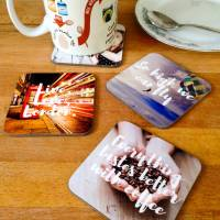 personalised photo and message drinks coasters by ...