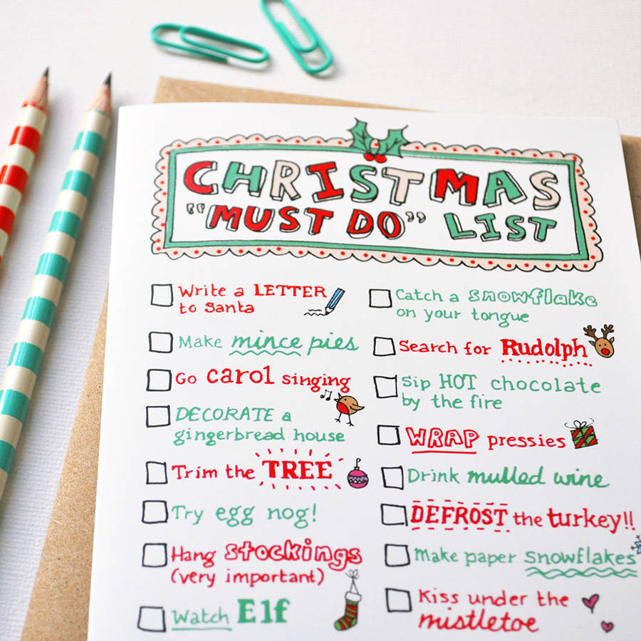 Pack Of Five Christmas Bucket List Cards By Eskimo Kiss