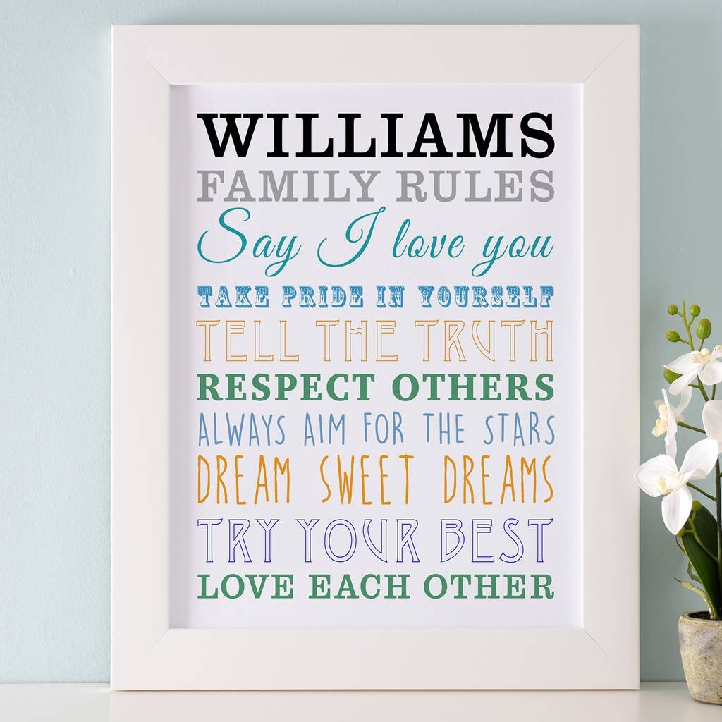 Personalised Family Rules Art By Cherry Pete