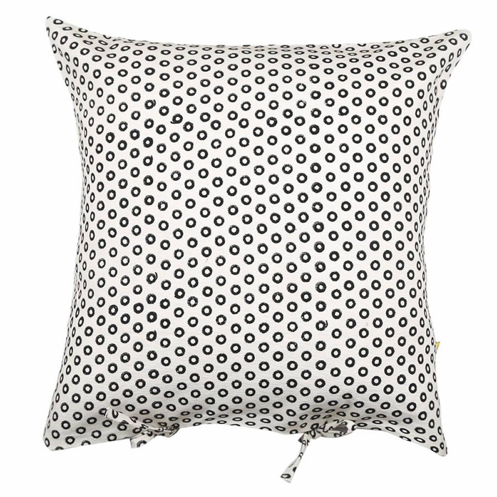 Block Printed Circle Design Cushion Cover In Black By