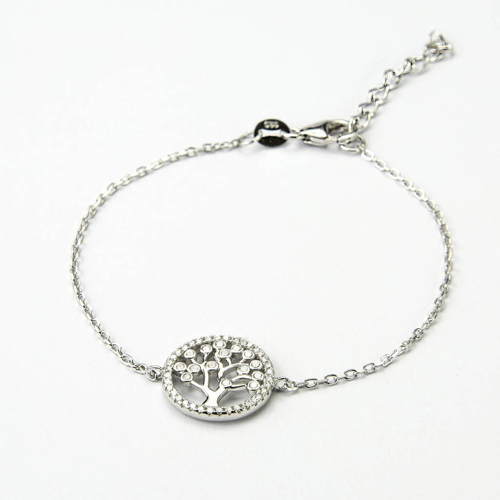 Sterling Silver Pave Tree Bracelet By Martha Jackson Sterling Silver