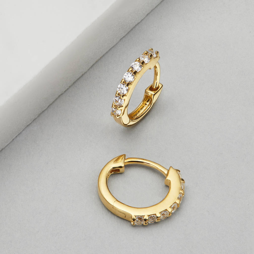small gold or silver diamond huggie hoop earrings by lily