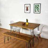 reclaimed pallet dining table and bench hairpin legs by ...