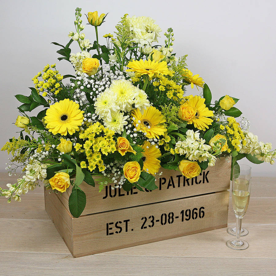 personalised crate  golden wedding anniversary by