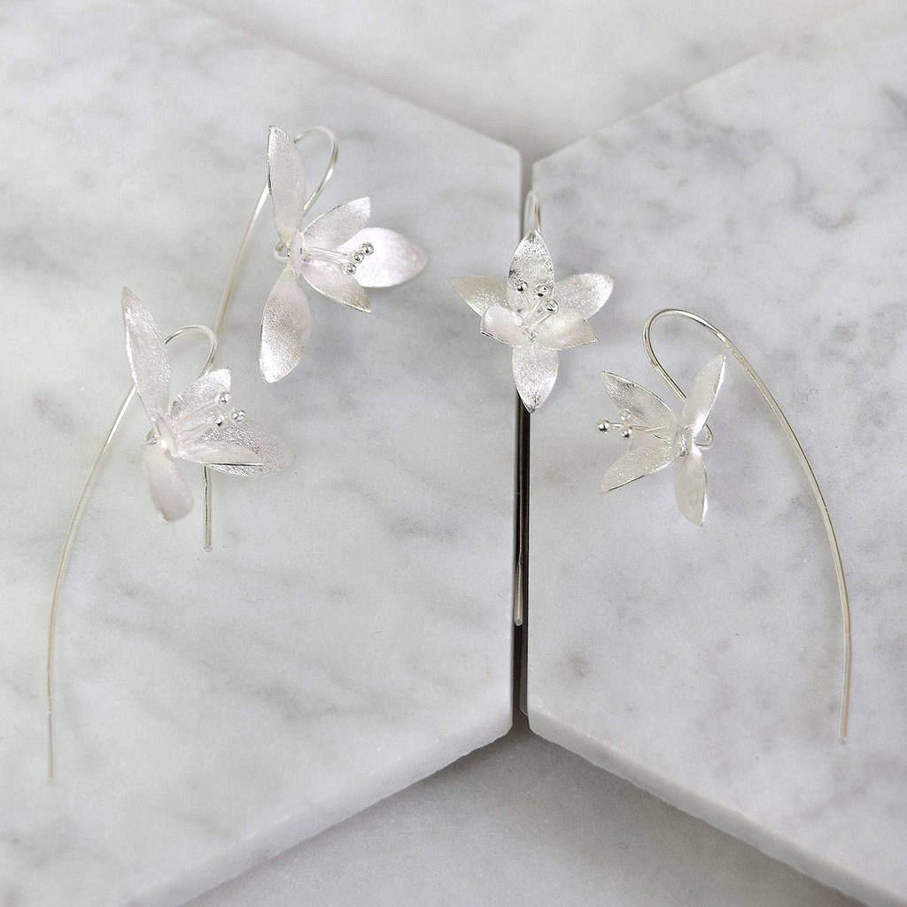 sterling silver flower earrings by mia belle