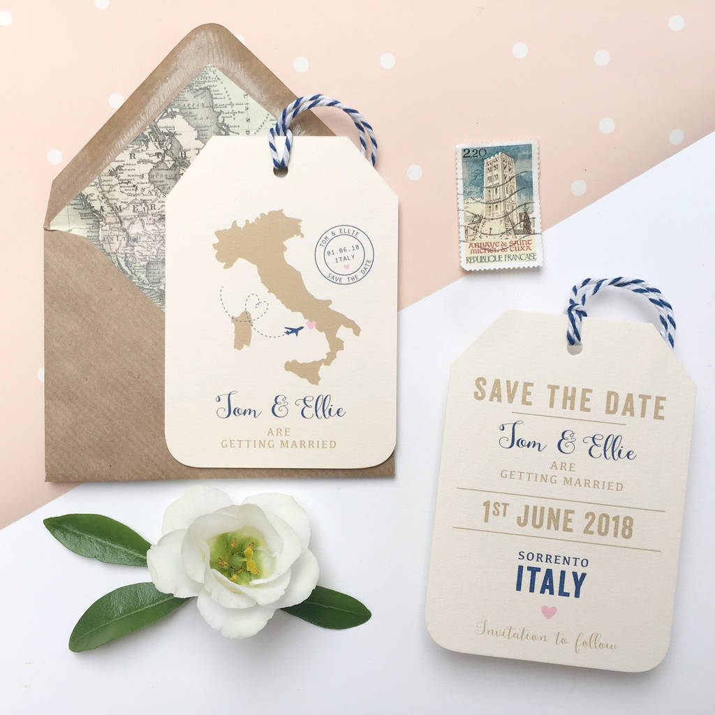 location wedding abroad save the date luggage tag by ditsy