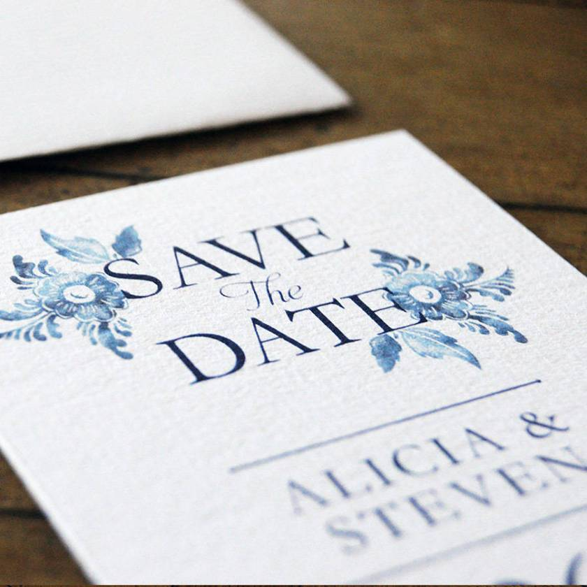 Blue China Wedding Invitations And Save The Date