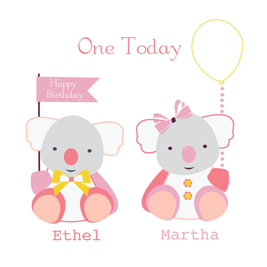 Happy Birthday Personalised Twins Boy And Girl Cards By