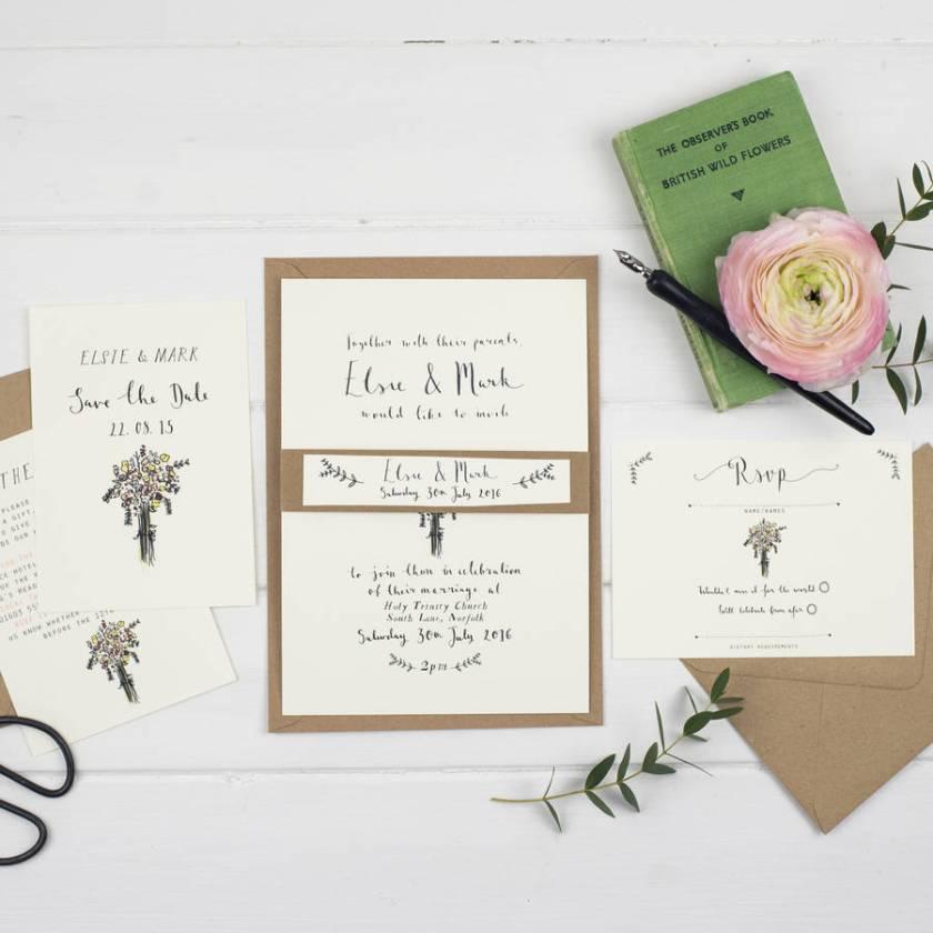 Bespoke Elsie Postcard Wedding Invitation Design 1