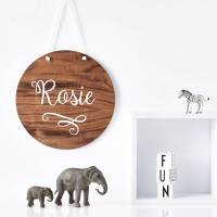 personalised delicate swirl nursery wooden wall art by ...