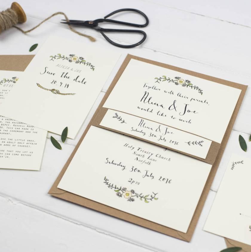 Bespoke Alicia Postcard Wedding Invitation