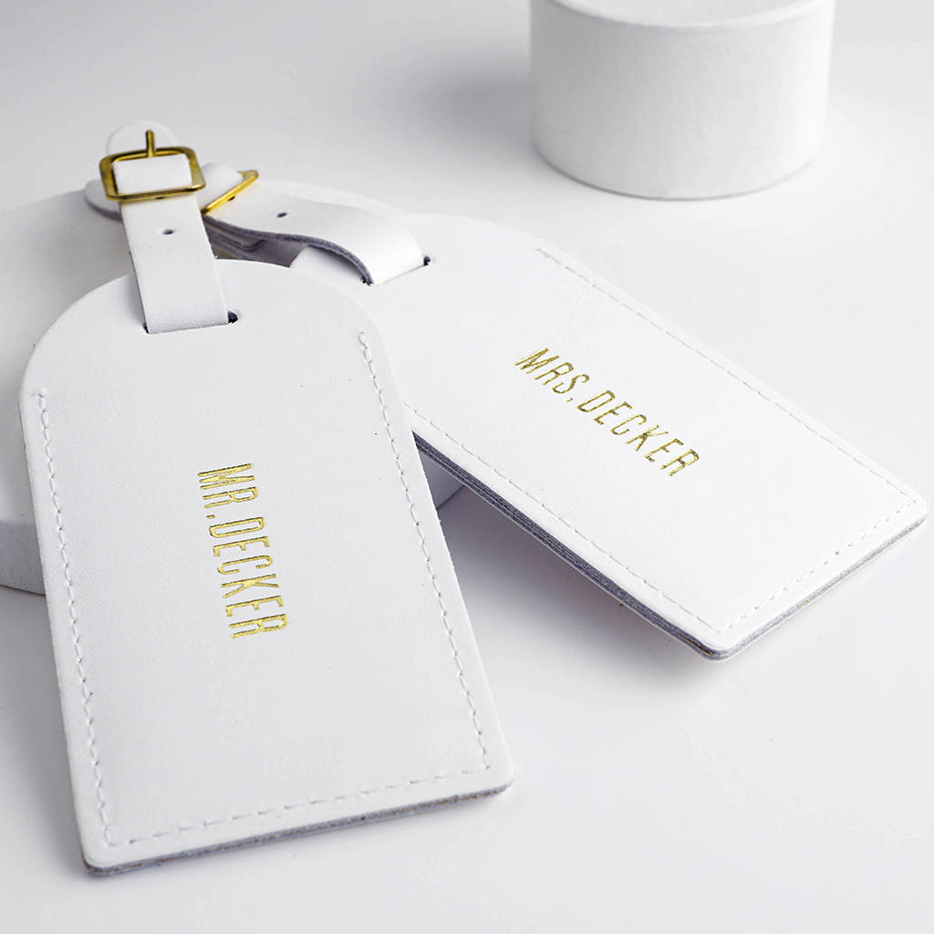 leather wedding luggage tags by wue  notonthehighstreetcom