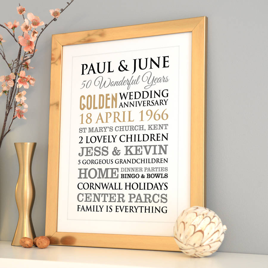 personalised golden wedding anniversary art by a type of
