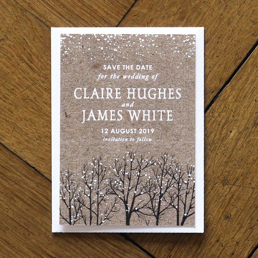 winter snow wedding invitations and save the date by feel