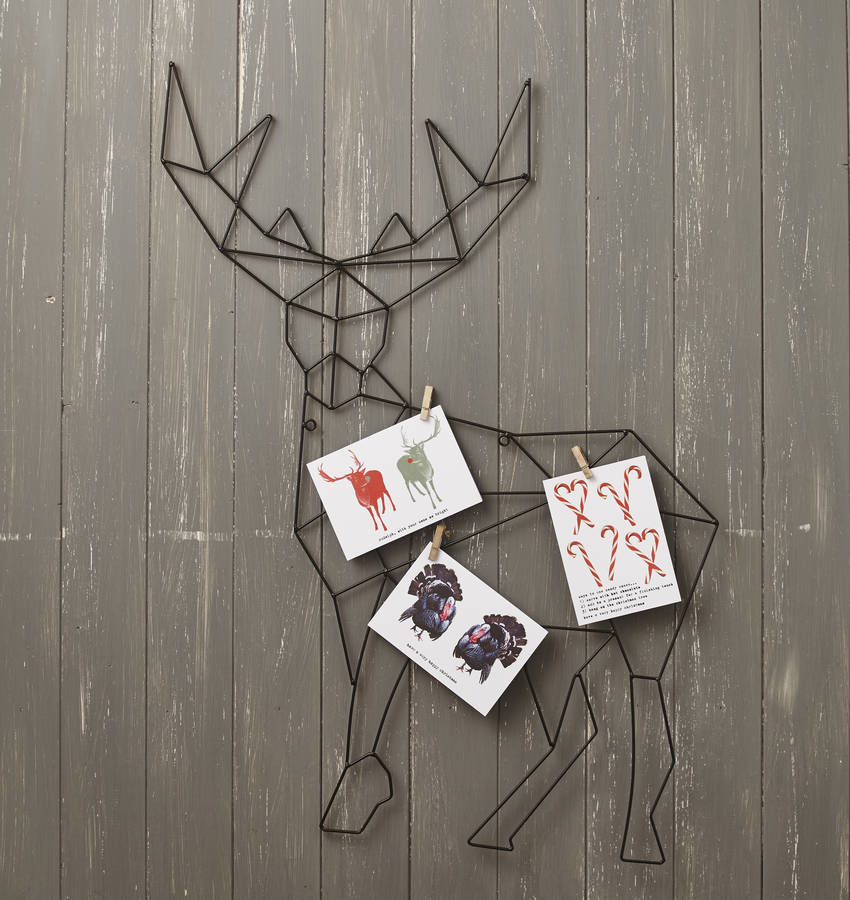 Hanging Reindeer Christmas Card Holder By Lime Lace