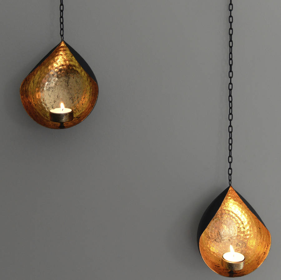 Hanging Gold And Black Tea Light Holder By The Forest Amp Co