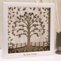 personalised wooden 3d traditional family tree wall art by