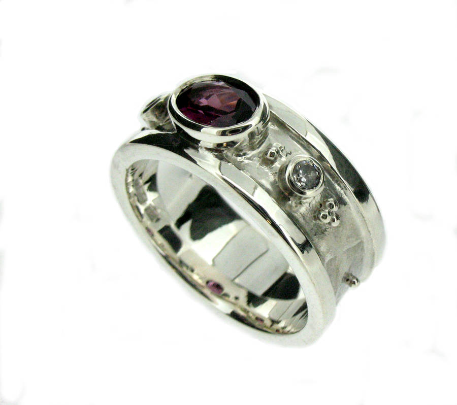 white gold rhodolite garnet and diamond ring by will