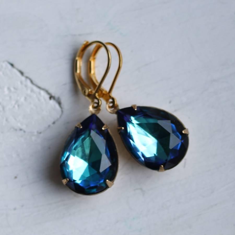 ocean blue vintage earrings by silk purse, sow's ear