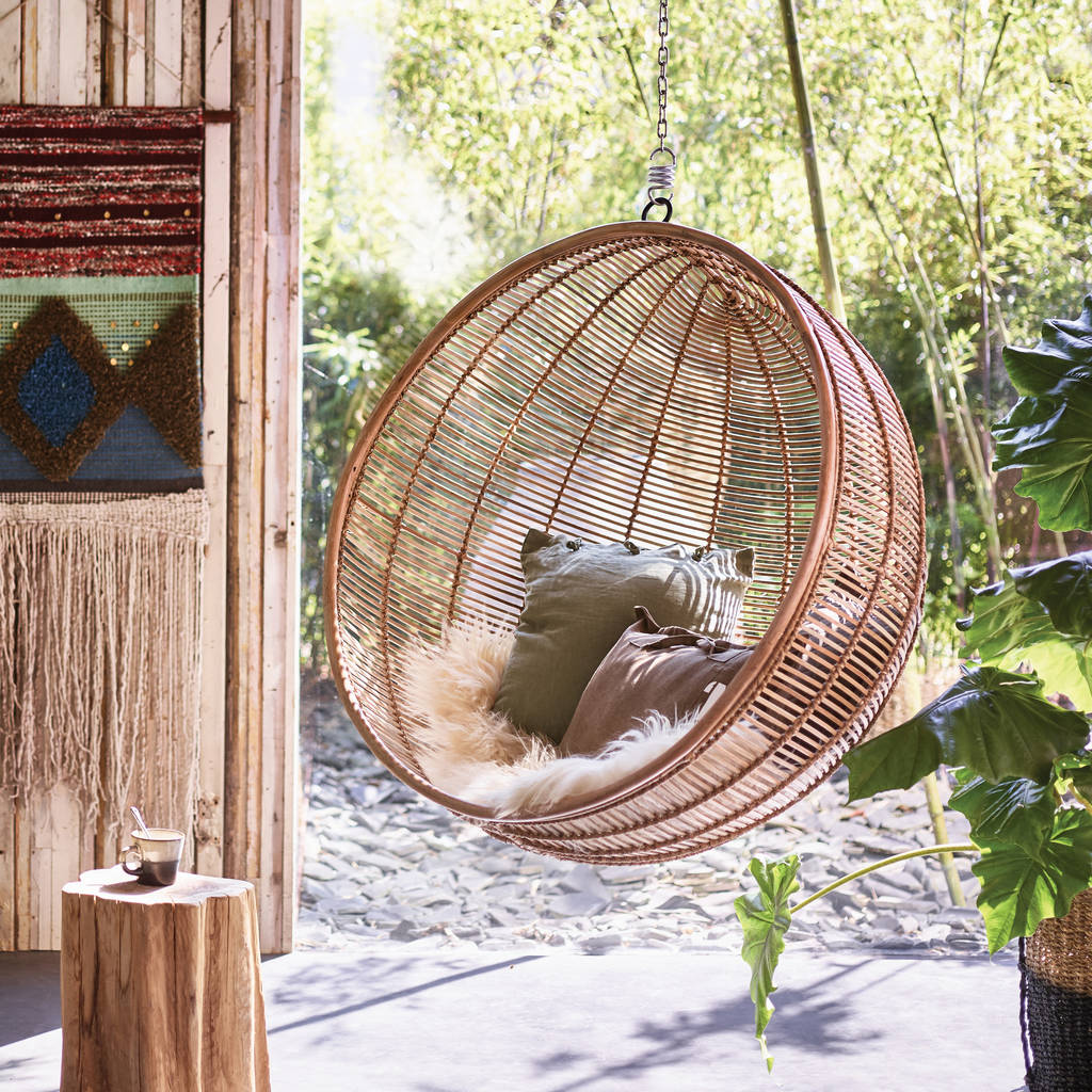 hanging bean bag chair lyre back chairs and table bali ball rattan inside outside living by