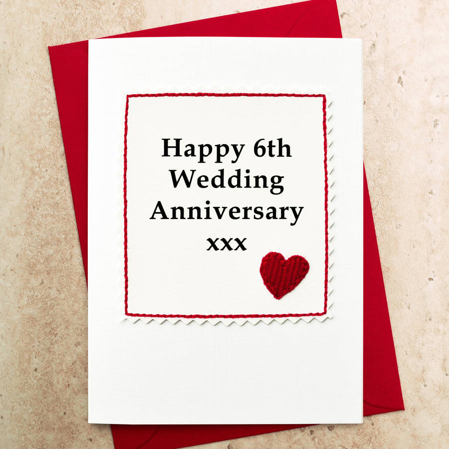 handmade 6th wedding anniversary card by jenny arnott