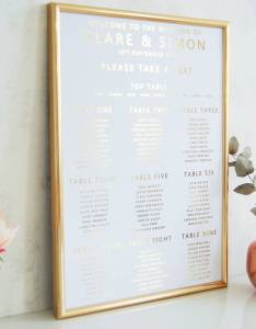 White and gold wedding seating plan table also by made with love rh notonthehighstreet