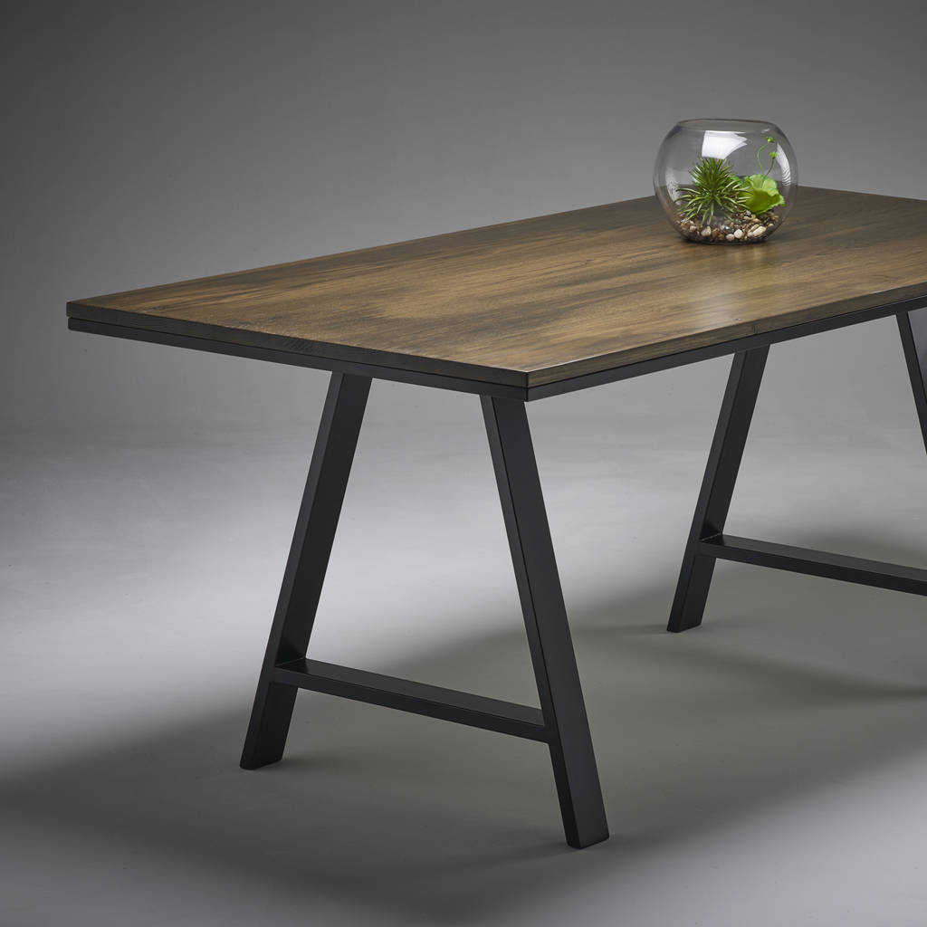 oak kitchen table showrooms indianapolis dark dining with modern steel legs a