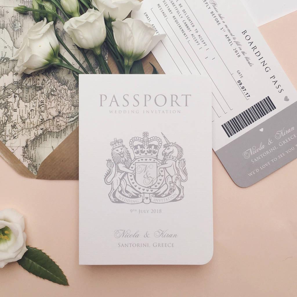 around the world passport wedding invitation by ditsy