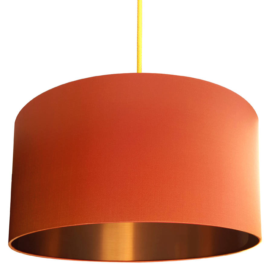 brushed copper lampshade in burnt orange by love frankie