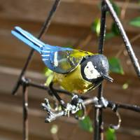 bird feeder with bluetit decoration by london garden