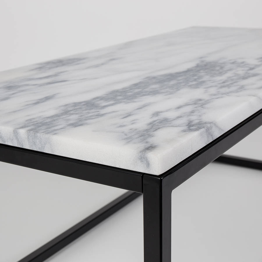 marble top coffee table with black steel frame by