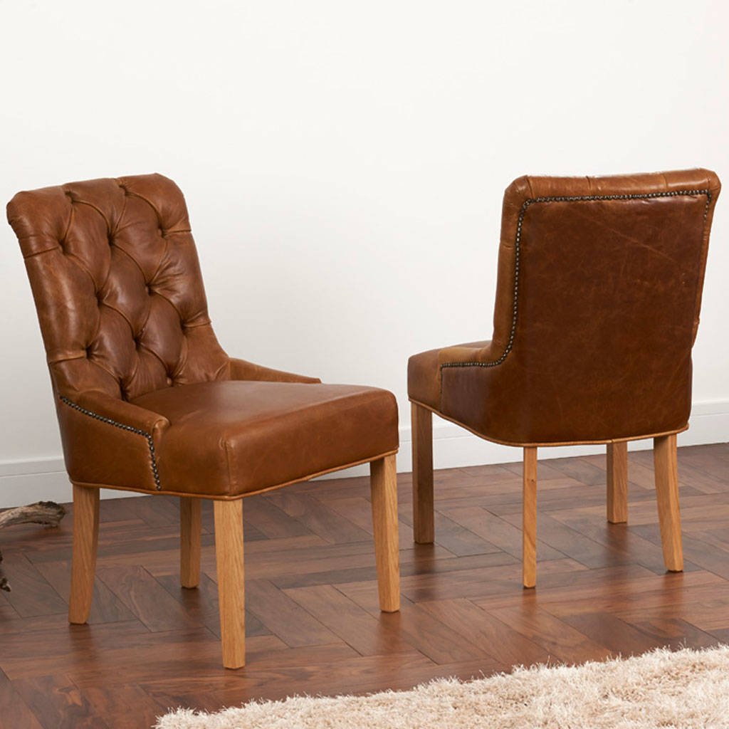 brown leather high back dining chairs desk chair good for vintage or tweed button by the